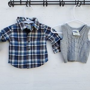 Oshkosh Boys NB Long Sleeve & Vest Set